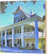 Magnolia Plantation House Wood Print