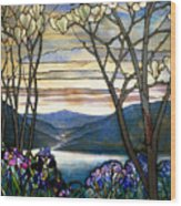 Magnolias And Irises Wood Print