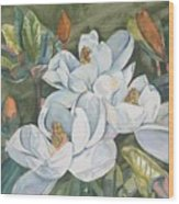 Magnolias Five Wood Print