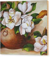 Magnolias In A Clay Pot Wood Print