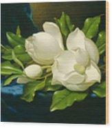 Magnolias On A Blue Velvet Cloth Wood Print
