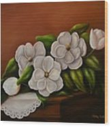 Magnolias On A Table Wood Print