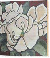 Magnolias Under Glass Wood Print