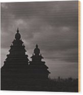 Mahabalipuram Silhouette  Wood Print