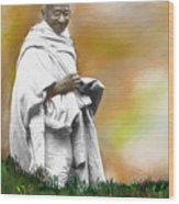 Mahatma Ghandi Wood Print by C A Soto Aguirre