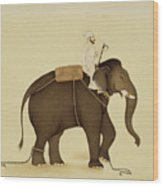 Mahout Riding An Elephant Painting - 18th Century Wood Print