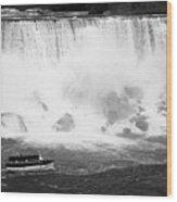 Maid Of The Mist Boat Below The American And Bridal Veil Falls Niagara Falls Ontario Canada Wood Print by Joe Fox