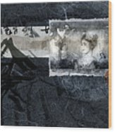 Maiko On Blue Wood Print