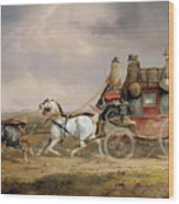 Mail Coaches On The Road - The Louth-london Royal Mail Progressing At Speed Wood Print