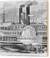 Mail Steamboat, 1854. /nthe Louisville Mail Company Steamboat Jacob Strader. Wood Engraving, 1854 Wood Print