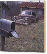 Mailbox Car Wood Print