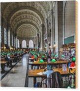 Main Reading Room Of Boston Public Library Wood Print