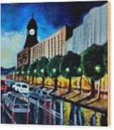 Main Street Clock Tower Wood Print