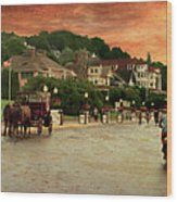 Main Street Mackinac Island Michigan Panorama Textured Wood Print