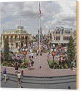 Main Street Usa Panorama Wood Print