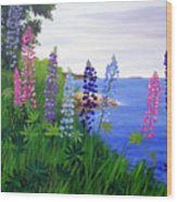 Maine Bay Lupine Flowers Wood Print