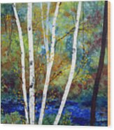 Maine Birch Stream Wood Print