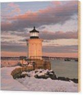 Maine Bug Light Lighthouse Snow At Sunset Wood Print