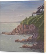 Maine Coast Abode - Art By Bill Tomsa Wood Print