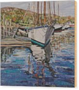 Maine Coast Boat Reflections Wood Print