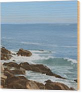 Maine Coast Wood Print by Linda Tenukas