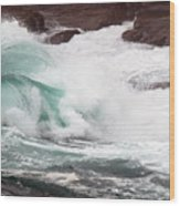 Maine Coast Storm Waves 2 Of 3 Wood Print