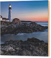 Maine Coastline Sunrise Wood Print