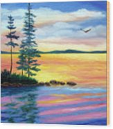 Maine Evening Song Wood Print