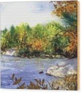 Maine Fall Pond Wood Print
