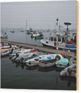 Maine Falmouth Boat Landing On Misty Morning Panorama Wood Print