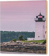 Maine Hendricks Head Lighthouse In Southport At Sunset Wood Print
