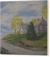 Maine House Wood Print