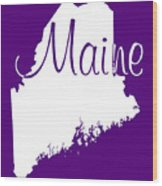 Maine In White Wood Print
