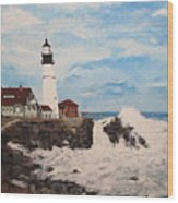 Maine Lighthouse Wood Print by Marcia Crispino