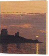 Maine Lighthouse Sundown Wood Print