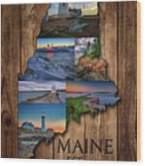 Maine Lighthouses Collage Wood Print