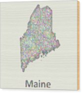Maine Line Art Map Wood Print