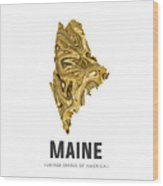 Maine Map Art Abstract In Golden Brown Wood Print