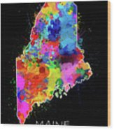 Maine Map Color Splatter 2 Wood Print