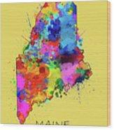 Maine Map Color Splatter 4 Wood Print
