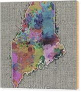 Maine Map Color Splatter 5 Wood Print