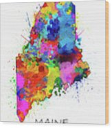 Maine Map Color Splatter Wood Print