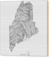 Maine Map Music Notes Wood Print