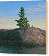 Maine Stone Island Sunrise Wood Print