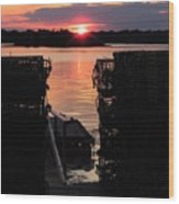 Maine Sunset And Traps Wood Print