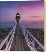 Maine Sunset At Marshall Point Lighthouse Wood Print