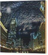 Majestic Chicago - Windy City Riverfront At Night Wood Print