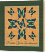 Majestic Green Swallowtail Wheel Wood Print