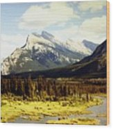 Majestic Mount Rundle Wood Print