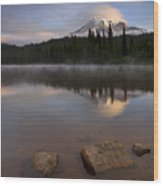 Majestic  Rainier Dawn Wood Print